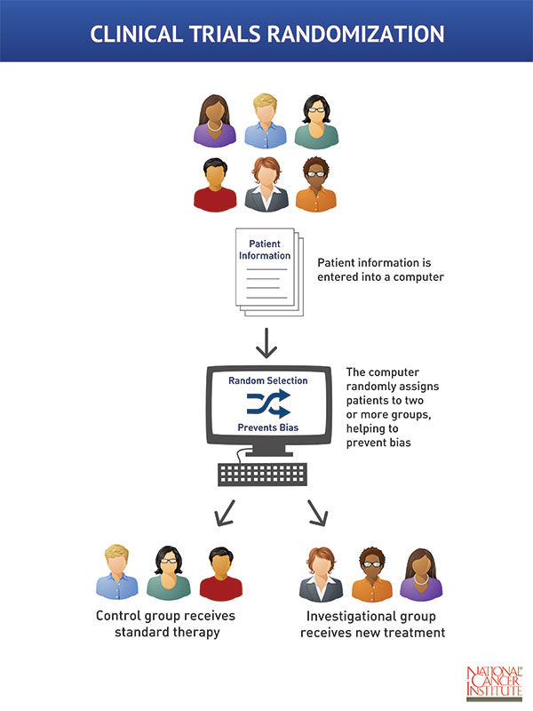 An infographic showing randomization. The medical information from a diverse group of patients is entered into a computer database. The computer then assigns each patient to one of two or more groups.   One group is the control group, the other is the investigational group. The control group receives the standard therapy and the investigational group receives the new treatment.