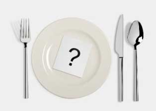 Question mark on dinner plate with fork, knife, and spoon.