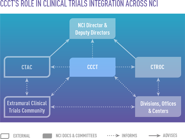 graphic showing CCCT's role in clinical trial integration across NCI