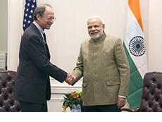 India Prime Minister Narendra Modi meets with NCI Director Dr. Harold Varmus
