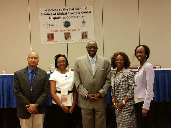 Left to right: Dr. William Aiken, Dr. Camille Ragin,  Honorable Dr. Fenton Ferguson, Dr. Folake Odedina, and Dr. Makeda Williams