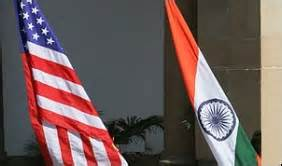 United States of America flag and the National Flag of India