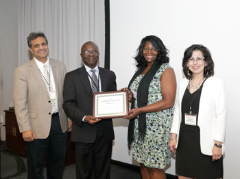 From left to right: Dr. Anil Wali, Dr. Peter O. Ogunbiyi, Dr. Marvella Ford, and Dr. Yolanda Vallejo-Estrada. Photo credit: William Branson.