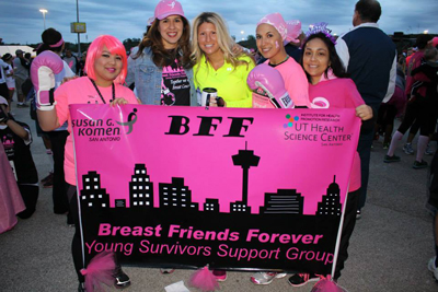 Sandra San Miguel de Majors, M.S. and members of Breast Friends Forever (BFF), a unique support group for young breast cancer survivors in San Antonio, TX. Photo credit: Sandra San Miguel de Majors.