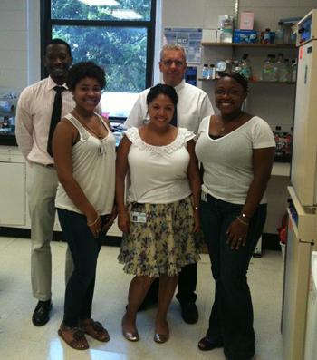 Dr. David Turner (top middle) with students and researchers at the Medical University of South Carolina. From left: Dion Foster, Diedre White, Lourdes Nogueira, and Sylvia Bridges.