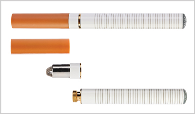 A photo of two electronic cigarettes