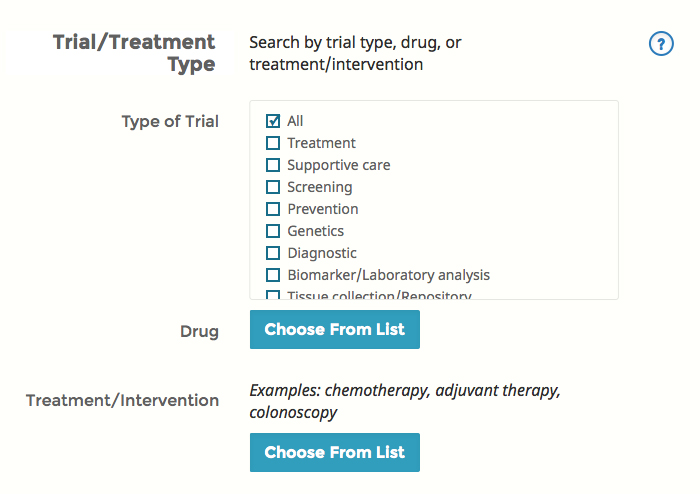 Expanded search option view for clinical trials.