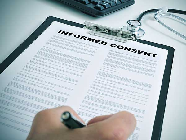 Clinical trial informed consent form.