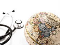 Decorative image of a globe with a stethoscope.