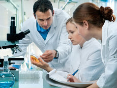 Two female and one male lab technician examining a petre dish in a laboratory.