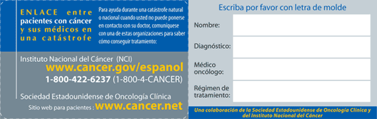 Cancer Disaster Form Card