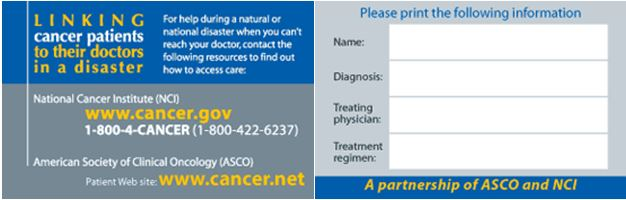 Linking cancer patients to their doctor in a disaster wallet card