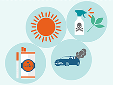 Illustration of a sun, chemical spray, cigarettes, and car exhaust