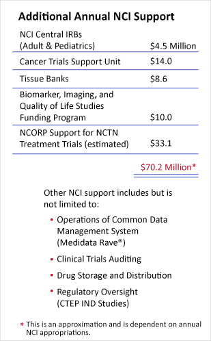 Table describing additional annual NCI support.