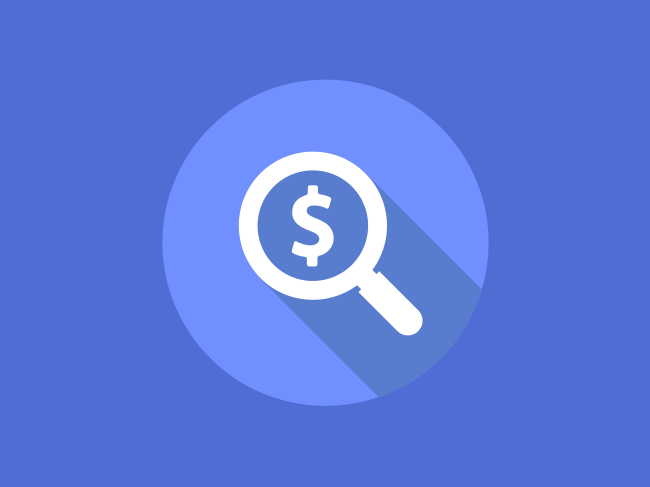 Icon of magnifying glass with a dollar sign