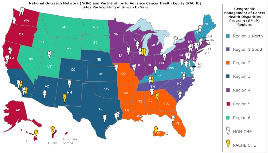 US map showing NON and PACHE sites participating in Screen to Save by geographic region