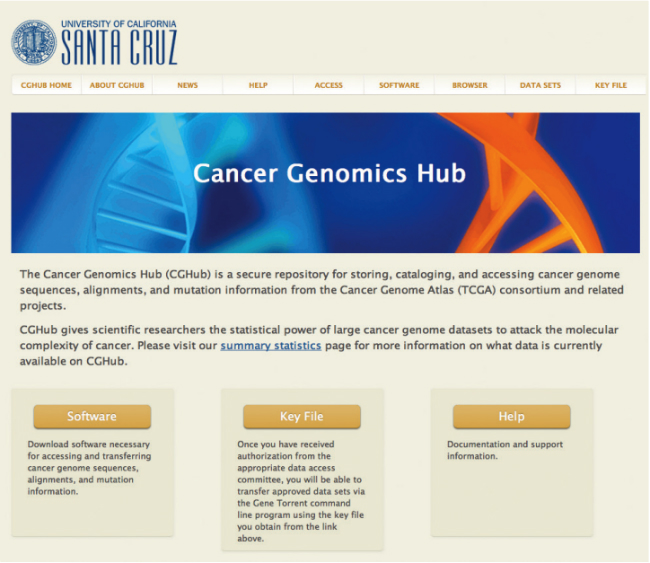 A screen capture of the CGHub data portal