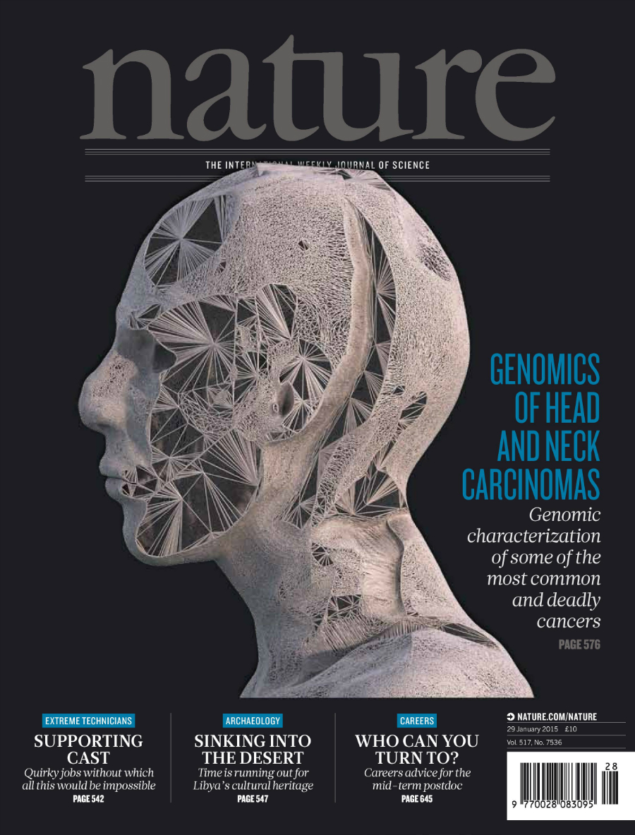 Cover art used for the head and neck squamous cell carcinoma publication in Nature