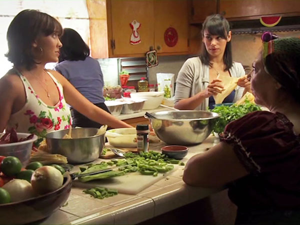 Image from an educational video that depicted a fictional Mexican American family discussing cervical cancer and screening. (Photo courtesy of Sheila Murphy, Ph.D., USC Annenberg School for Communication and Journalism)