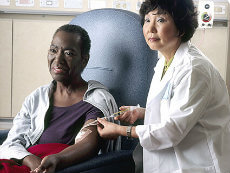 Patient receiving chemotherapy.