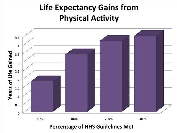 Life Expectancy Gains from Physical Activity Graph