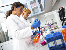 Two scientists working in a lab