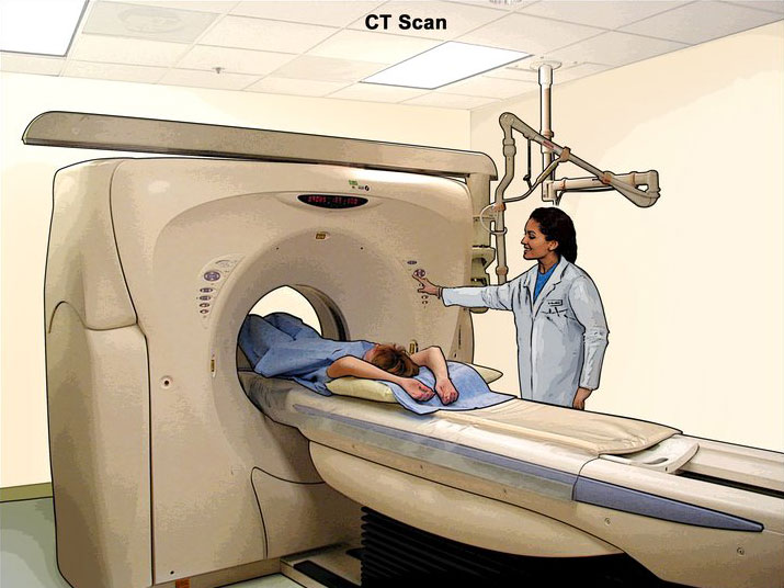 Illustration of a patient undergoing a CT scan of the abdomen.