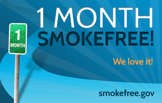Illustration of one-month smokefree milestone message from smokefree.gov.