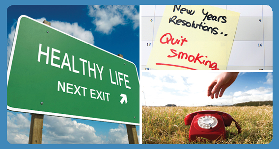 Photo collage of healthy life road sign, calendar with a note to quit smoking, and hand reaching for phone.
