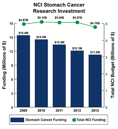 Bar graph of NCI Stomach Cancer Research Investment in 2009-2013: Fiscal year (FY) 2009, $15.4 million Stomach Cancer Funding of $4.97 billion Total NCI Budget.  FY 2010, $14.5 million Stomach Cancer Funding of $5.10 billion Total NCI Budget.  FY 2011, $13.4 million Stomach Cancer Funding of $5.06 billion Total NCI Budget.  FY 2012, $12.1 million Stomach Cancer Funding of $5.07 billion Total NCI Budget.  FY 2013, $11.2 million Stomach Cancer Funding of $4.79 billion Total NCI Budget.
