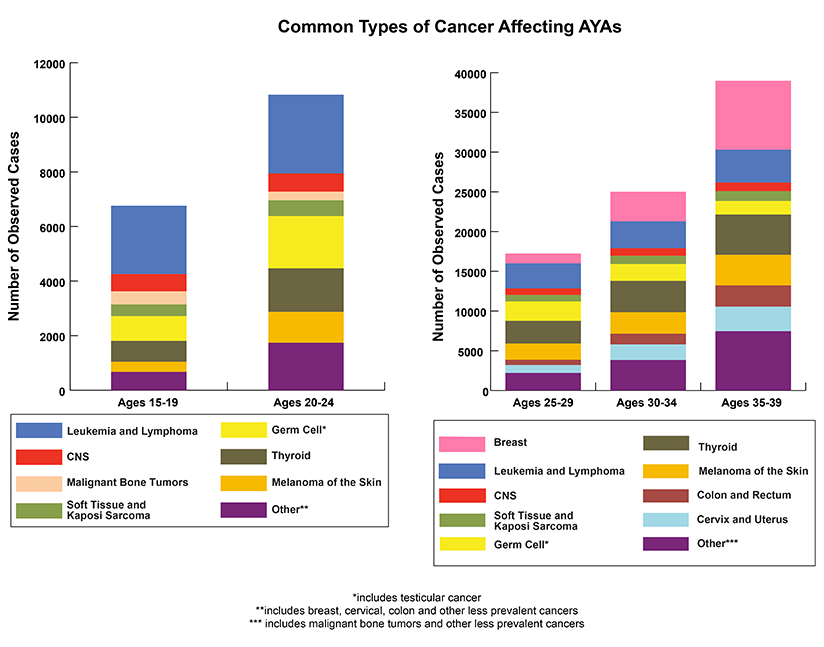 Bar graphs depicting the number of observed cases of the Common Types of Cancer Affecting AYAs for Age at Diagnosis 15-19, 20-24, 25-29, 30-34, and 35-39. Leukemia and lymphoma are the most common types of cancers at ages at diagnosis 15-19, 20-24, and 25-29. By ages at diagnosis 30-34, thyroid and breast cancers are the most common types of cancer.