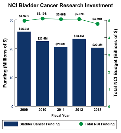 Bar graph of NCI Bladder Cancer Research Investments in 2009-2013: Fiscal year (FY) 2009, $25.9 million Bladder Cancer Funding of $4.97 billion Total NCI Budget.  FY 2010, $22.6 million Bladder Cancer Funding of $5.10 billion Total NCI Budget.  FY 2011, $20.6 million Bladder Cancer Funding of $5.06 billion Total NCI Budget.  FY 2012, $23.4 million Bladder Cancer Funding of $5.07 billion Total NCI Budget.  FY 2013, $20.3 million Bladder Cancer Funding of $4.79 billion Total NCI Budget.