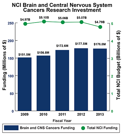 Bar graph of NCI Brain and Central Nervous System (CNS) Cancers Research Investment in 2009-2013: Fiscal year (FY) 2009, $151.5 million of $4.97 billion Total NCI Budget. FY 2010, $156.8 million of $5.10 billion Total NCI Budget. FY 2011, $172.6 million of $5.06 billion Total NCI Budget.  FY 2012, $177.5 million of $5.07 billion Total NCI Budget. FY 2013, $176.8 million of $4.79 billion Total NCI Budget.