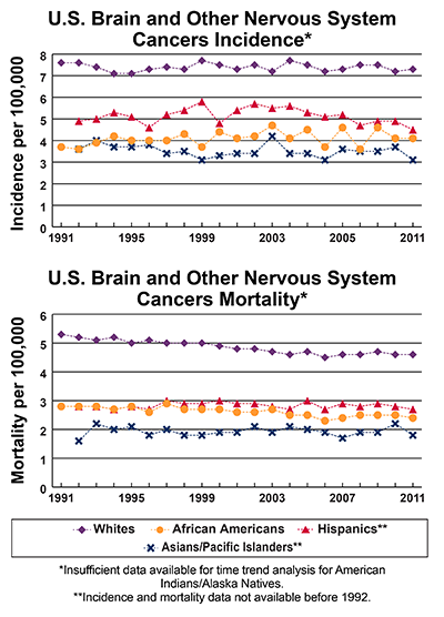 Line graphs showing U.S. Brain and Other Nervous System Cancers Incidence and mortality per 100,000, by race and ethnicity.  Incidence from 1991-2011 and mortality from 1990-2010 is shown. In 2011, whites have the highest incidence follow by Hispanics, African Americans, and Asians/Pacific Islanders.  In 2010, whites have the highest mortality, followed by Hispanics, African Americans, and Asians/Pacific Islanders.  Insufficient data available for time trend analysis American Indian/Alaska Natives.