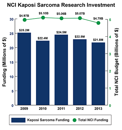 Bar graph of NCI Kaposi Sarcoma Research Investment in 2009-2013: Fiscal year (FY) 2009, $25.2 million Kaposi Sarcoma Funding of $4.97 billion Total NCI Budget. FY 2010, $22.4 million Kaposi Sarcoma Funding of $5.10 billion Total NCI Budget.  FY 2011, $24.5 million Kaposi Sarcoma Funding of $5.06 billion Total NCI Budget.    FY 2012, $22.9 million Kaposi Sarcoma Funding of $5.07 billion Total NCI Budget.  FY 2013, $21.8 million Kaposi Sarcoma Funding of $4.79 billion Total NCI Budget.