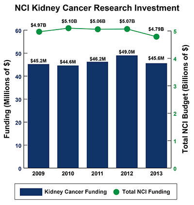 Bar graph of NCI Kidney Cancer Research Investment in 2009-2012: Fiscal year (FY) 2009, $45.2 million Kidney Cancer Funding of $4.97 billion Total NCI Budget. FY 2010, $44.6 million Kidney Cancer Funding of $5.10 billion Total NCI Budget.  FY 2011, $46.2 million Kidney Cancer Funding of $5.06 billion Total NCI Budget.  FY 2012, $49.0 million Kidney Cancer Funding of $5.07 billion Total NCI Budget.  FY 2013, $45.6 million Kidney Cancer Funding of $4.79 billion Total NCI Budget.