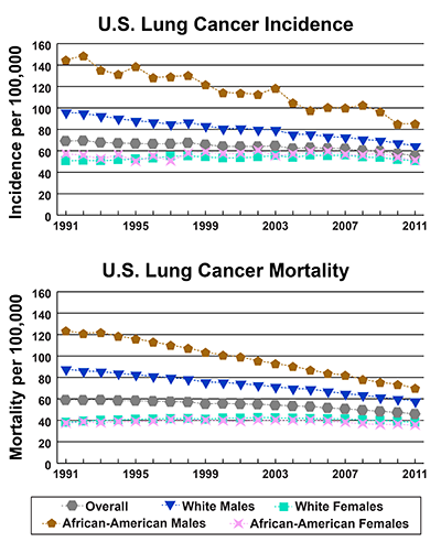 Line graphs showing U.S. Lung Cancer Incidence and mortality per 100,000 by race and gender from 1991-2011.  In 2011, African American males have the highest incidence, followed by white males and African American females, and white females. In 2011, African American males have the highest mortality, followed by white males, white females, and African American females.