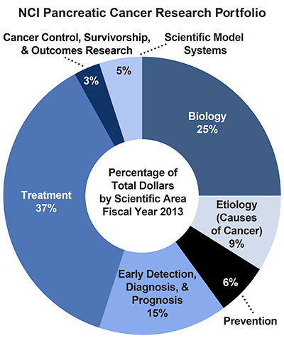 Pie chart of NCI Pancreatic Cancer Research Portfolio.  Percentage of total dollars by scientific area.  Fiscal year 2013.  Biology, 25%.  Etiology/causes of cancer, 9%.  Prevention, 6%.  Early detection, diagnosis, and prognosis, 15%.  Treatment, 37%.  Cancer control, survivorship, and outcomes research, 3%.  Scientific model systems, 5%.