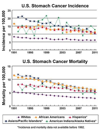 Line graphs showing U.S. Stomach Cancer Incidence and mortality per 100,000, by race and ethnicity from 1991-2011. In 2011, American Indians/Alaska natives have the highest incidence, followed by African Americans, Hispanics, Asians/Pacific Islanders, and whites. In 2011, African Americans have the highest mortality, followed by Asians/Pacific Islanders, Hispanics, American Indians/Alaska Natives, and whites.