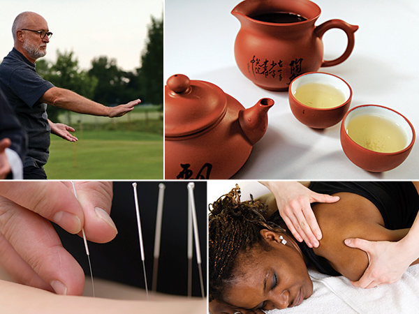 A collage of a man practicing marital arts, green tea, acupuncture and a woman receiving a massage.