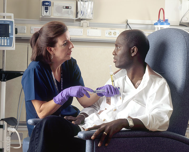 A patient receives IV chemotherapy