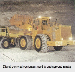Large yellow diesel-powered equipment sitting in underground mine