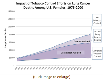 This line chart plots lung cancer death rates from 1975-2000, under the three scenarios studied by the researchers; i.e., No Tobacco Control, Actual Tobacco Control, and Complete Tobacco Control. This chart provides data for U.S. Women.