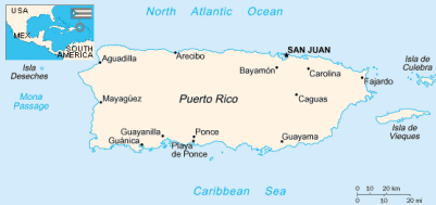 White and blue map of Puerto Rico