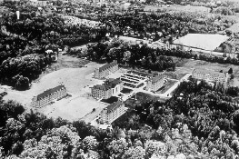 Image of NIH campus in 1940. NCI occupied 'Building Six.'