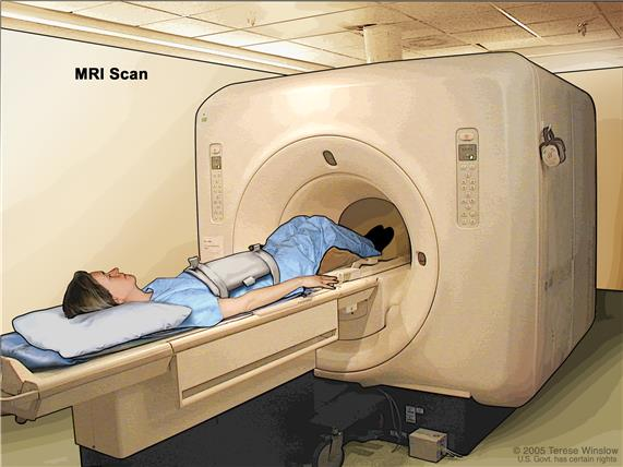 Magnetic resonance imaging (MRI) of the abdomen; drawing shows the patient on a table that slides into the MRI machine, which takes pictures of the inside of the body. The pad on the patient's abdomen helps make the pictures clearer.