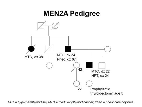 Pedigree showing some of the classic features of a family with a deleterious RET mutation across four generations, including transmission occurring through paternal lineage. The unaffected female proband is shown as having an affected brother (medullary thyroid cancer diagnosed at age 22 y and hyperparathyroidism diagnosed at age 24 y), father (medullary thyroid cancer diagnosed at age 54 y and pheochromocytoma diagnosed at age 67 y), and paternal aunt (medullary thyroid cancer diagnosed at age 38 y).