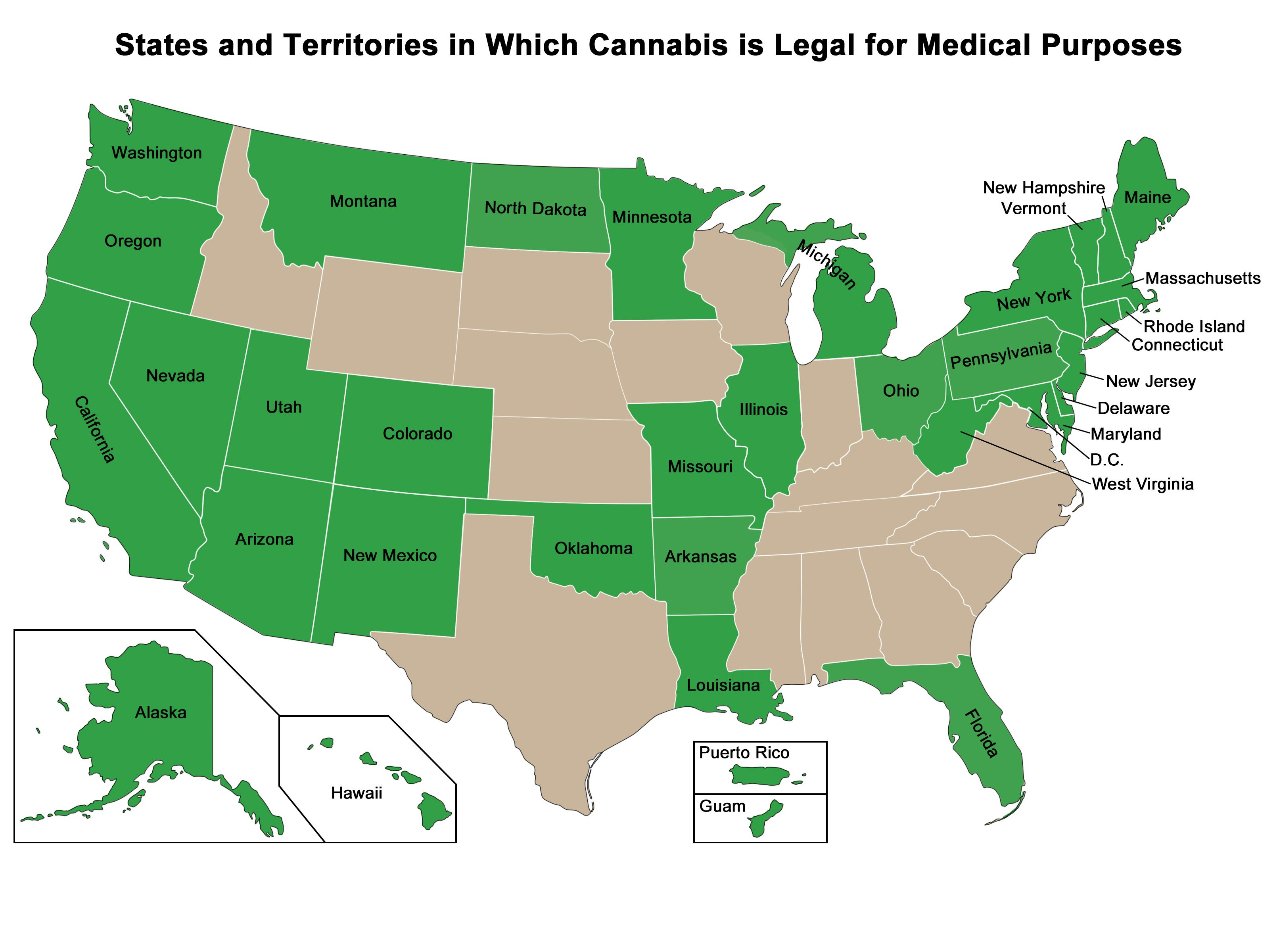 A map showing the U.S. states and territories that have approved the medical use of Cannabis.