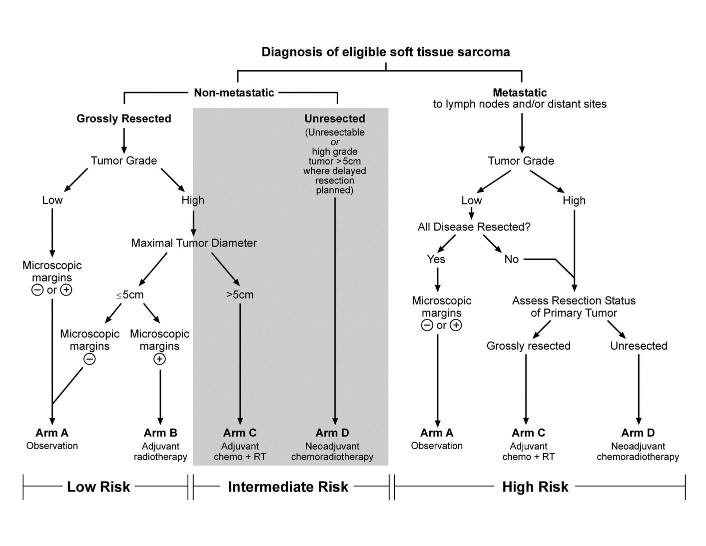 Chart showing risk stratification and treatment assignment for the Children's Oncology Group ARST0332 trial.