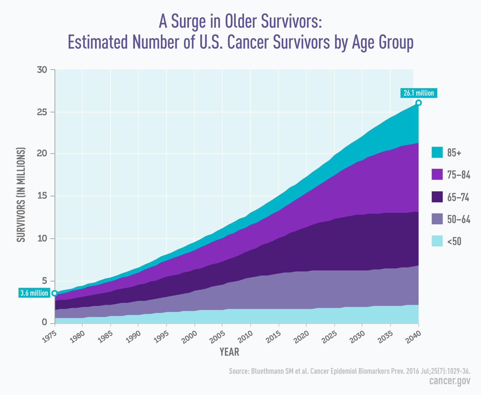 Line graph. The number of cancer survivors grew 20 percent since the 1970s. Those over 75-years-old are expected to make up half of all survivors by the year 2040